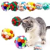 6 Piezas Pelotas de Juguete para Gatos, Peluche Hecho a Mano con Campana Juguete Interactivo para Gatos Entrenamiento de Gatitos