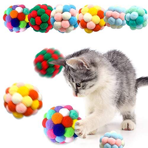 HRP 6 Stück Bunte Katze Ball, handgefertigter Plüsch-Flummi mit Bell-Interaktives Spielzeug für Katzen Kätzchen Ausbildung