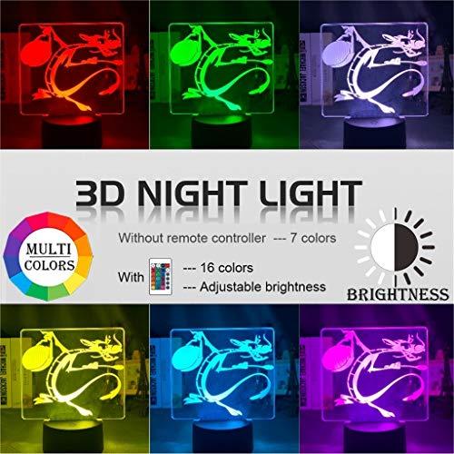 3D-Nachtlicht Cartoon Mulan Mushu Drache Figur Nacht For Kind Schlafzimmer Dekorative LED Farbwechsel Kinder-Tischlampe Geschenk (Color : 16 color with remote)