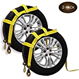 DC Cargo Mall Tow Dolly Basket Straps with Twisted Snap Hooks | 2-Pack | Car Wheel Straps for Auto Hauling