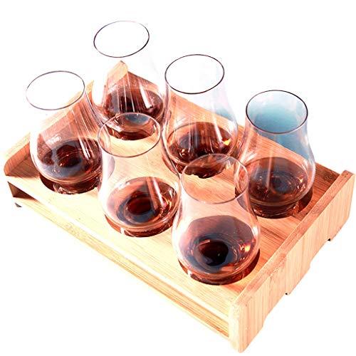 Coupe à dégustation professionnelle de whisky, verre à dégustation de vin, ensemble de 6, porte-verres à vin en bambou (Couleur : B)