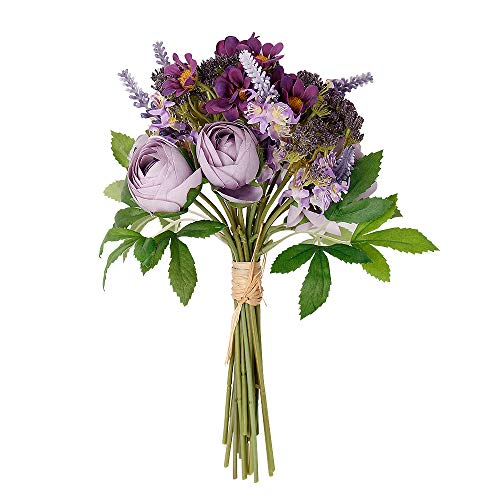 Nubry Fake Flowers Wedding Bouquet Artificial Lavender Wildflowers Hydrangea Flower Arrangements Home Bridal Bouquet Décor(Purple)