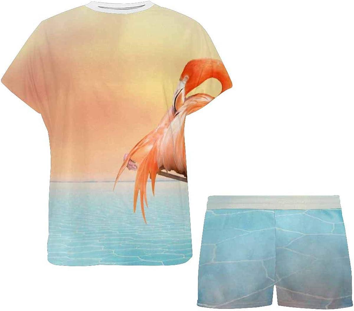 INTERESTPRINT Red Flamingo and Sunset Sky Women Sleepwear Short Sleeves Pajama Sets