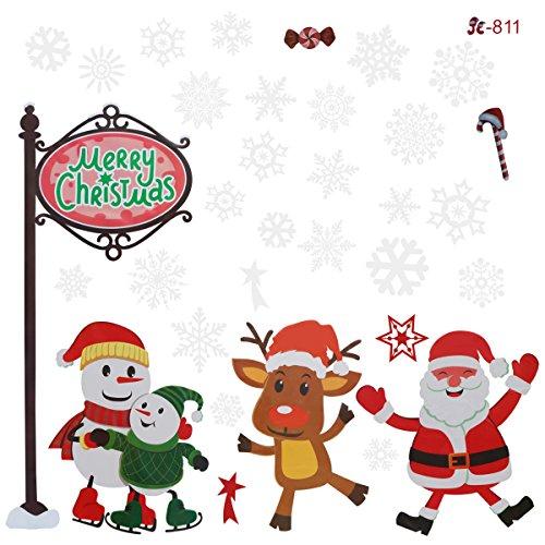 Amosfun Feliz Navidad etiqueta engomada extraíble impermeable puerta pegatinas DIY decoración del hogar ()