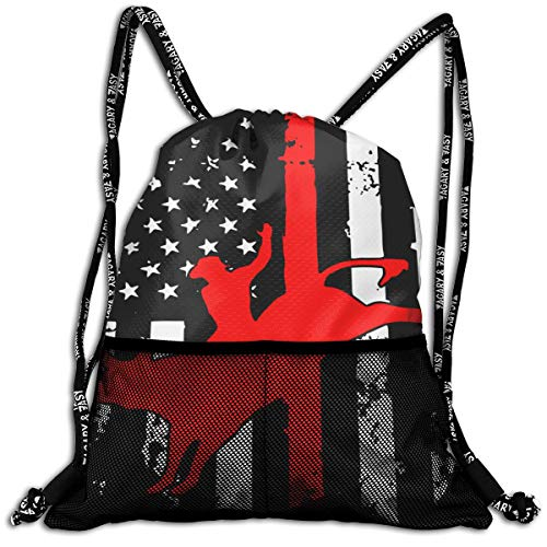 Bull Riding US Flag Bull Rider Backpack Drawstring Bag Sports Gym Bag Traveling And Storage Backpack