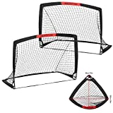 WEKEFON Soccer Goals Set - 2 Packs - 3.6'x2.7' Portable Foldable Soccer Nets for Backyard Games and Training Pop-Up Soccer Goals for Kids and Teens Soccer Practice with Carry Bag