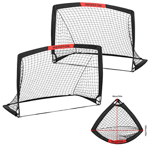 WEKEFON Soccer Goals Set – 2 Packs – 3.6'x2.7′ Portable Foldable Soccer Nets for Backyard Games and Training Pop-Up Soccer Goals for Kids and Teens Soccer Practice with Carry Bag
