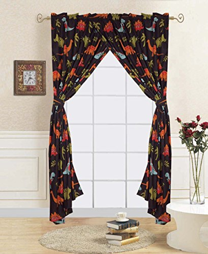 Golden linens 4 Pieces Window curtain/ Drape Set with printed kids design DINOSAUR BROWN