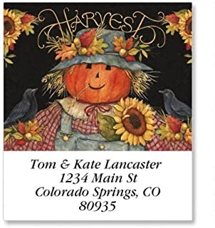 Scarecrow Square Thanksgiving Return Address Labels - Set of 144 1-1/2 x 1-3/4 Autumn Self-Adhesive, Flat-Sheet labels