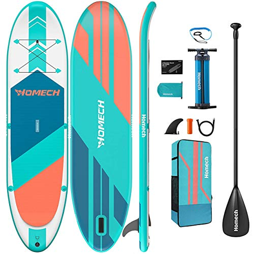 "Homech Stand Up Paddle Board 10'10 × 32"" × 6"" All Round iSUP Paddleboarding with Dual Chamber Hand Pump for SUP Racing Touring Fishing Water Yoga All Skill Levels"