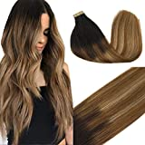 GOO GOO Balayage Hair Extensions Tape in Dark Brown to Chestnut Brown and Dirty Blonde Seamless Tape in Human Hair Extensions 18 inch 50g 20pcs