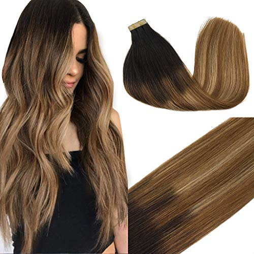 GOO GOO 22inch Tape in Human Hair Extensions Balayage Dark Brown to Chestnut Brown and Dirty Blonde Remy Hair Extensions Tape in Straight Skin Weft 50g 20pcs