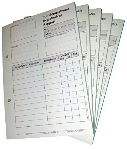 1x Block Stundennachweis-Regiebericht - Rapport DIN A5, 2-fach selbstdurchschreibend,2x50 Blatt weiß/grün - gelocht (22432)