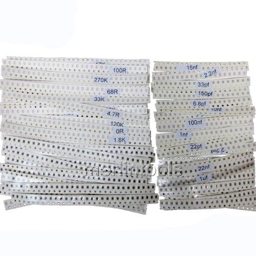 2140Pcs SMD 0805 50 Value Resistor & 32 Value Capacitor Assortment Kit