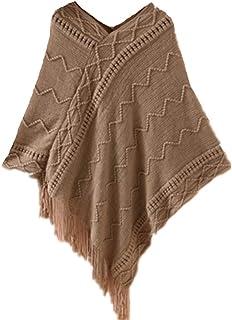 4f7339dfef YOGLY Pochon au Crochet Pull avec Frange Veste Poncho Hiver au Chaud  Tricoté Gilets Chandail en