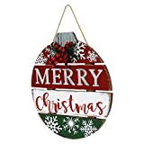 OUCHAN Merry Christmas Wall Sign Hanging Door Decoration Wood Rustic Decor with Galavnized & Christmas Buffalo Bow Ornament