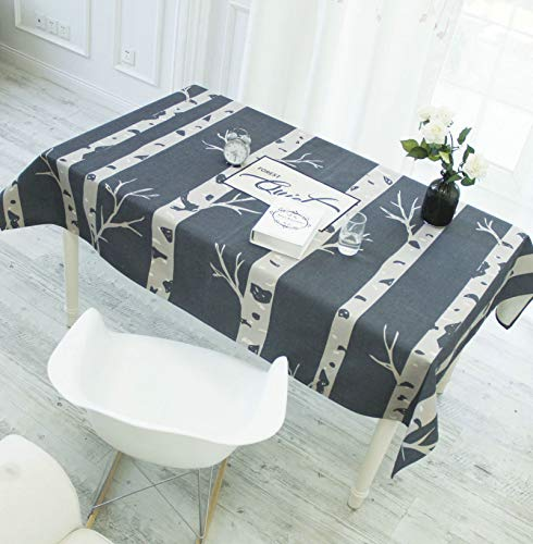 KnSam Cotton Table Cloths, Table Cloth for Picnic Tables 110x170cm Trees Table Cloth Dining Room Rectangular Blue