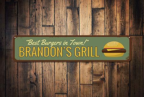 Fhdang Decor Burgers en Ville des Signes, personnalisé Grill Master Nom Sign, personnalisé téléphone Lover Pancarte de Cuisine en métal, Plaque en métal, 10,2 x 45,7 cm
