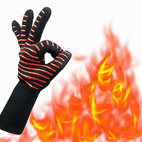 BBQ Gloves High Temperature 500-800 Fireproof BarbecueHeat Insulation Microwave Kitchen Baking GlovesGrill Oven Mitts Gloves-Red stripe