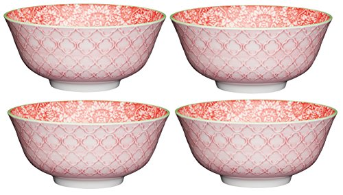 "Kitchencraft Footed vintage-style floral-patterned cuencos, 15,5 cm (6 "") (Set de 4), cerámica, rojo/rosa, 15,5 x 15,5 x 7,5 cm"