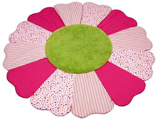 Käthe Kruse schöne Patchwork-Krabbel-Decke Blume Rosa/Pink/Grün