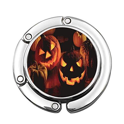 Orange Scary Halloween Pumpkin Yellow October Soporte de suspensión Plegable Gancho de Mesa Universal para Bolso de Mano