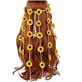Diadema de girasol hippie con corona floral de girasoles de girasoles para ajustar el tocado de la flor del aro para el pelo, accesorio para el pelo, decoración del partido