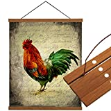 Cloud Dream Home Magnetic Poster Frame 10'(10x14inch) Farm Cock Rooster Light Wood Wooden Frames Hanger Vintage Dowel Scroll Wall Hanging for Photo Picture, Canvas Artwork