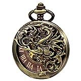 Treeweto - Reloj de bolsillo antiguo de esqueleto mecánico y figura de dragón con cadena
