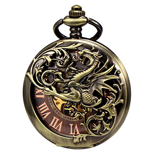Treeweto - Reloj de bolsillo antiguo de esqueleto mecánico