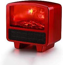 YLOVOW Calentador Estufa Eléctrica Chimenea Efecto Llama y 2 Configuraciones Calor - Calentador Portátil Espacio Libre,Rojo