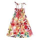 Moneycom Tenues Ete Jumpsuit Jupe Anniversaire Tulle Chic Ceremonie Mariage Infant Kids Fille Baby Clothes Vestidos Floral Robe de Sangles de Plage Bohème Rose(7-8 Ans)