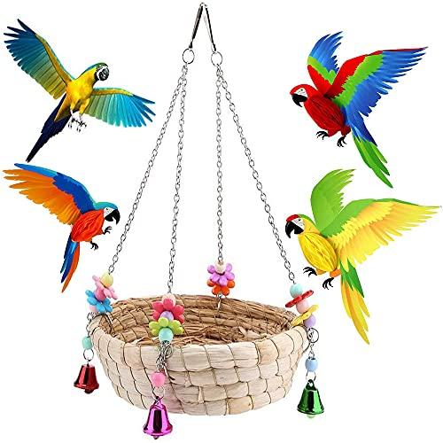 zfdg Vogel-Spielzeug, Papagei Schaukel Spielzeug, Papageienschaukel, Sitzstangen für Vögel, Natürlich Handgewebtes Stroh Vogelspielzeug mit 4 Metallglocken für Sittiche, Aras, Papageien, Finken
