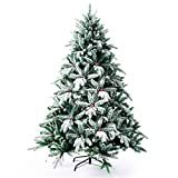 Senjie Artificial Christmas Tree,Feel Real Red Berry Tree with Snow Flocked 4.5FT