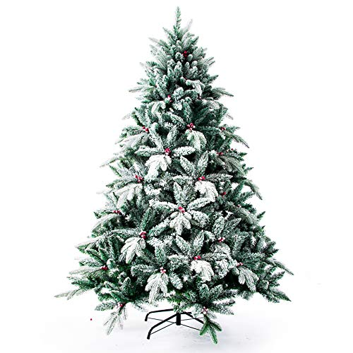 Artificial Christmas Tree,Real Touch Red Berry Tree with Snow Flocked 6 FT