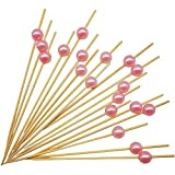 PuTwo Toothpicks for Cocktail Appetizers Fruits Dessert, 100 Count, Pink Pearls