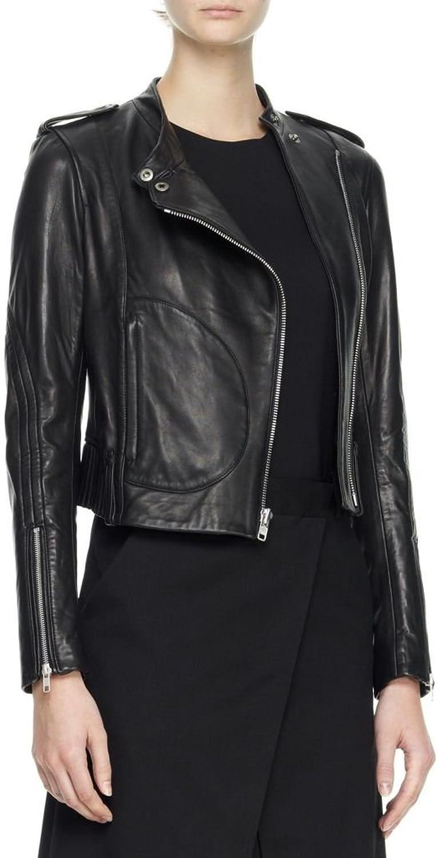 Leather Scan Women's Lambskin Leather Moto Bomber Biker Jacket XXLarge Black