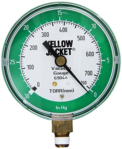 "Yellow Jacket 69044 Vacuum Gauge, 0-30"" Hg/760-0 Torr, 3 1/8"""