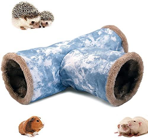 LeerKing Meerschweinchen Kuscheltunnel 3 Röhren Spieltunnel Leinwand Faltbar Innen Plüsch Tunnel Käfig zubehör mit Haken für Frettchen Degus Chinchillas Igel Nager M