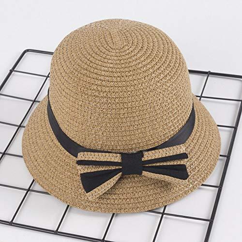 TYMDM Sonnenhut Kleinkinder Kleinkinder Baby Mädchen Kinder Sommer Hüte Stroh Sonne Strand Hut Für Kappe 3-5Year Weiß Braun Rosa Beige