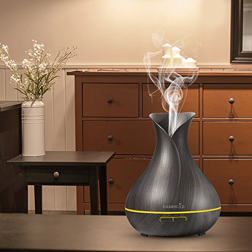 Easehold Aroma Essential Oil Diffuser Humidifier 400ml Cool Mist with Colorful Lights 4 Timer Wood Grain Finish