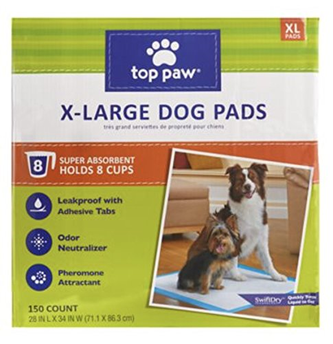 TOP PAW Dog XL Extra Large Pads for Puppy Training, Indoor Dogs or Apartment Living, or Dogs with Incontinence, 8 Cup, 150 Count
