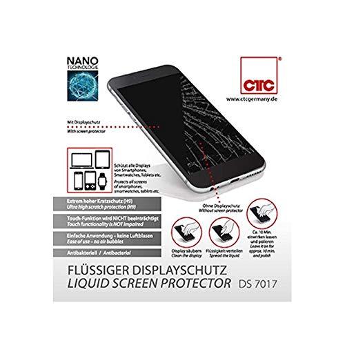 CTC DS 7017 Flüssiger Displayschutz, hoher Kratzschutz (H9), Touch-Funktion wird nicht beeinträchtigt, einfache Anwendung-keine Luftblasen, Antibakteriell