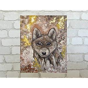 Acrylgemälde BABY WOLF abstrakt 50cmx60cm, Original Acryl mit Blattmetall