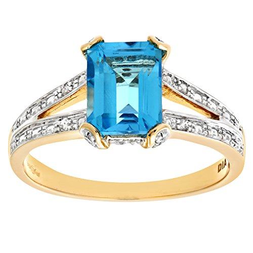 Naava Women's 9 ct Yellow Gold Collate Set Diamond and Single Stone Blue Topaz Ring, Size S
