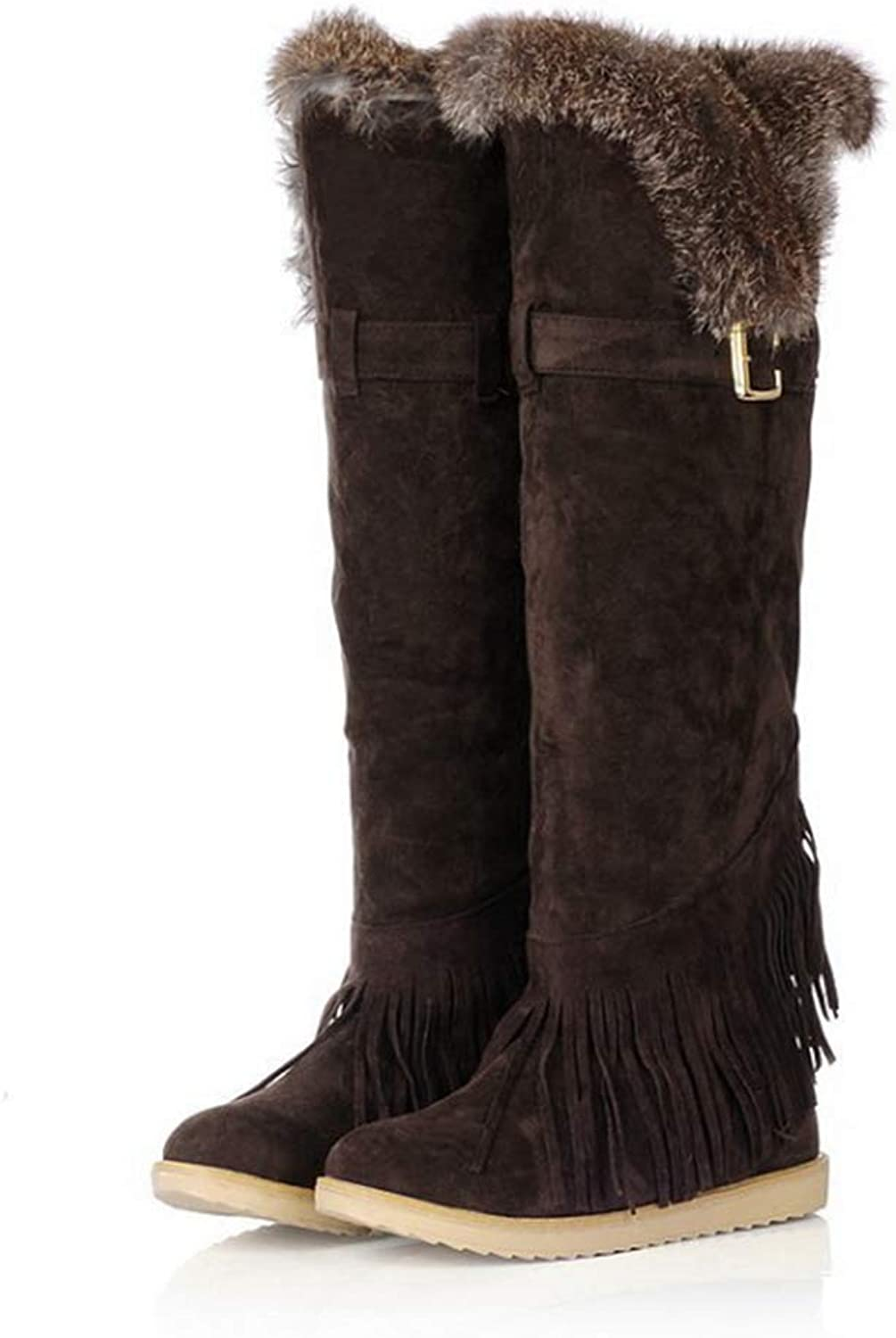 Wallhewb Fashion Winter Women Over The Knee Snow Boots Scrub Warm Fur Wedges Thigh High Thermal Fringed shoes Joker Wear Resistant Fashionable Elegant Soft Velvet Yellow 8 M US shoes