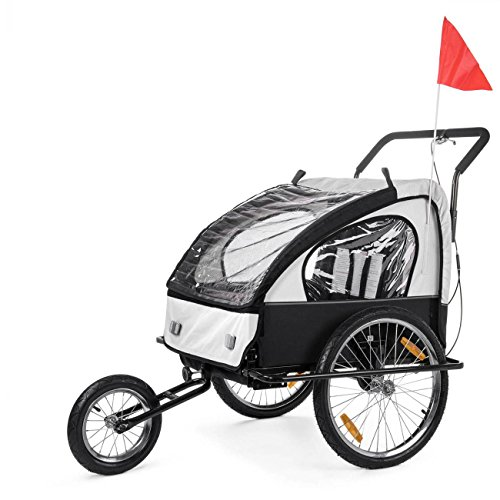 SAMAX Fahrradanhänger Jogger 2in1 Kinderanhänger Kinderfahrradanhänger Transportwagen gefederte Hinterachse für 2 Kinder in Weiss/Schwarz neu - Black Frame