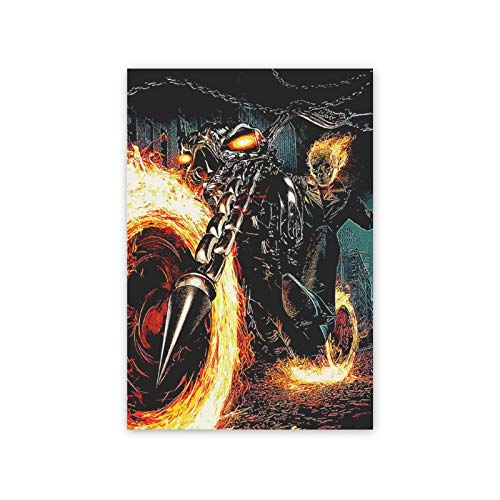 "Movie Canvas Prints Wall Art Paintings Ghost_Rider_Cg_Artwork Wall Art Print and Poste,Ready to Hang for Wall Decor 16""x24"""