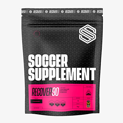 Soccer Supplement - Recover90 Recovery shake for Footballers - Used by Professional Footballers, 31grams of Protein, 32grams of Carbohydrate, 374mg's of Electrolyte, Informed Sport Tested, Strawberry