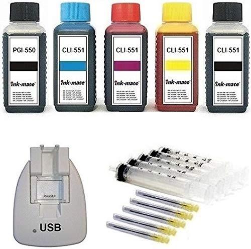 Chip-Resetter + Nachfüllset 5 x 100 ml Premium Nachfülltinte und Zubehör zum Befüllen von PGI-550, CLI-551 black cyan magenta yellow Druckerpatronen